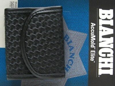 BIANCHI Black 7928 Basketweave ACCUMOLD ELITE Flat Glove Holder Pouch! 22962