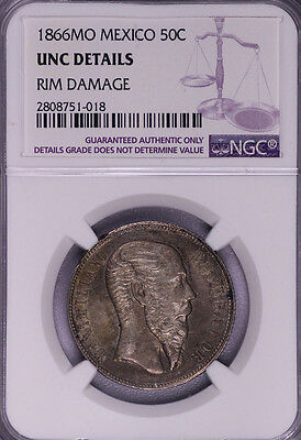 Ngc-Uncd 1866Mo Mexico 50C Silver Toned Unc