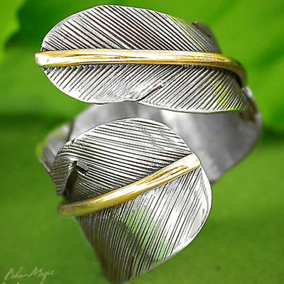 Feather Solid 925 Sterling Silver Ring Band Leaf Golden Adjustable Size