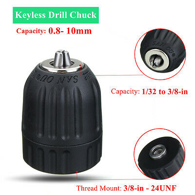 Keyless Drill Chuck 3/8 in 24 UNF Thread Mount Cordless/Electric Power Drills