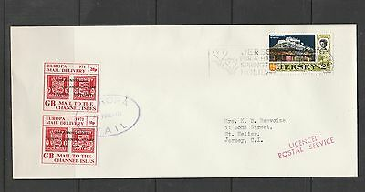 GB cover, 1971 Strike mail, Europa Mail delivery to Jersey, 2 x 20p stamps