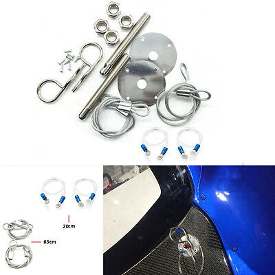 """Muscle Car Silver 3/16"""" Hair Pin Style Hood Cover Set With Lanyards Lock Studs"""
