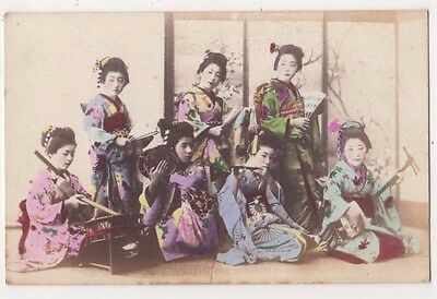 Geisha Girls, Playing Musical Instruments Japan Postcard B723