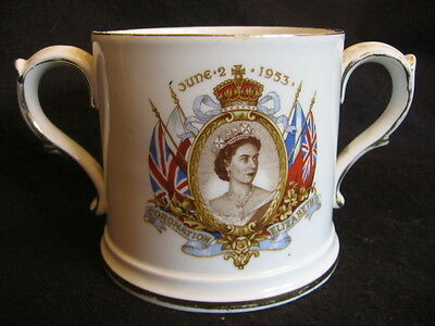VINTAGE CORONATION LOVING CUP QUEEN ELIZABETH June 2nd 1953 Collingwood China