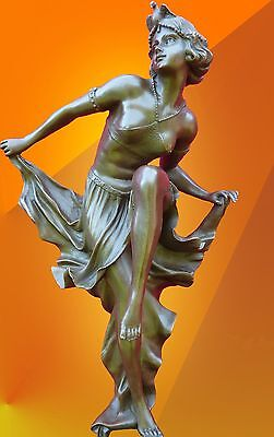 ART DECO  Signed Gory DANCING GIRL, BRONZE STATUE HOT CAST FIGURE NUDE ITALIAN
