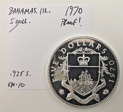 Large Coin! 1970 Bahamas Islands Silver **proof** $5 Five Dollars Km#10