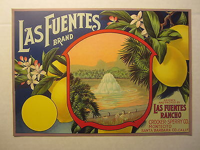 Original Old Vintage 1920's - LAS FUENTES Lemon Crate LABEL - Santa Barbara Co.