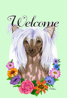 Large Indoor/Outdoor Welcome Flag (Flowers) - Chinese Crested 63069