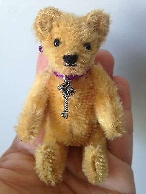 """Antique Steiff Jointed Mohair Teddy Bear Miniature 3.5"""" NO ID SWEET NO RESERVE!"""