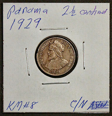 1929 Panama 2 1/2 Centimes XF KM#8 one year type coin