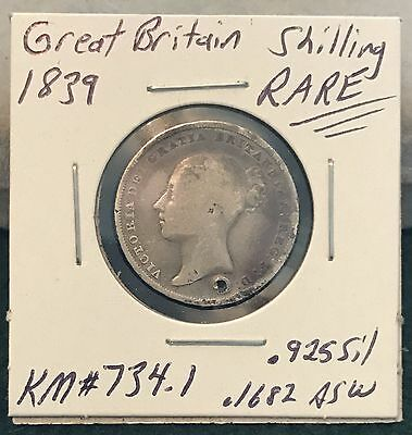 1839 great britain shilling RARE w/damage holed  .925 Silver Coin