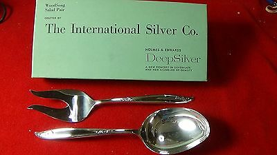 Woodsong Salad Pair 2 Serving Pieces Holmes & Edwards International Silver Co