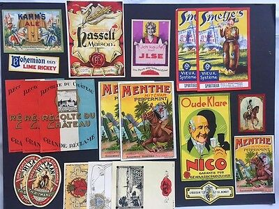 Vintage Lot 20 Original Labels Beverage Liquor Wine Ephemera Mixed Media