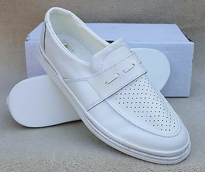 ELITE Mens Cairo White Slip On Bowls Bowlers Shoes Sz 10 Ex Display Marked (38)