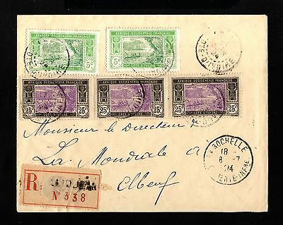 15291-COTE D´IVOIRE-REGISTERED COVER ABIDJAN to ELBEUF(france)1924.French coloni
