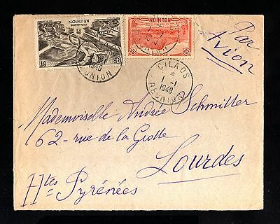 15846-REUNION-AIRMAIL COVER CILADOS to LOURDES (france)1948.WWII.French colonies