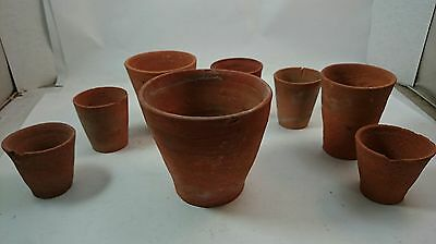 VICTORIAN TERRA COTTA Antique Era 19th Century English Garden Flower Pot Set
