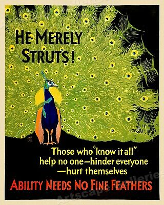 Hungry Vulture 1920s Work Incentive Motivational Poster 20x24 Starve Him