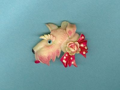 Vintage Plastic Scottie Dog Pin Occupied Japan Celluloid ? Bakelite ? Excellent