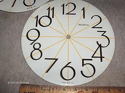 """Clock Dial' NOS Parts' Aluminum ,9 1/2"""" inch Dia, Cut from 10"""" Dial White/Brn"""