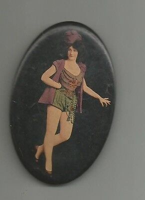 early 1900's pocket mirror image woman in risque clothing celluloid