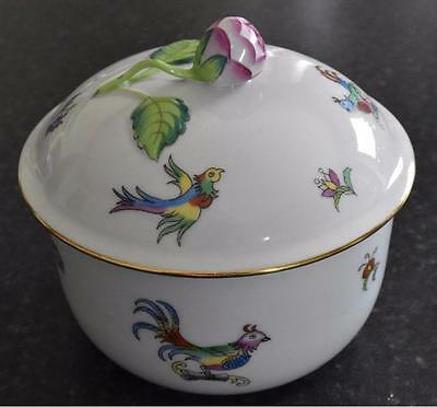 Herend hand-painted pot and cover, peony finial (B213)