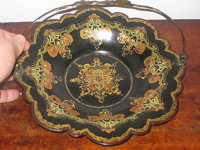 Jennens & Bettridge Paper Mache Brass Handle Bowl Owen Jone Type Moorish Dec