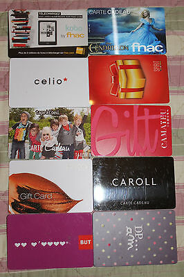 CARTE CADEAU  GIFT CARD -  Lot 10 cartes diverses  (FRANCE)