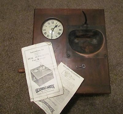 Gledhill-Brook Time Recorder ~ With Instructions ~ Dovetailed Case ~ Runs