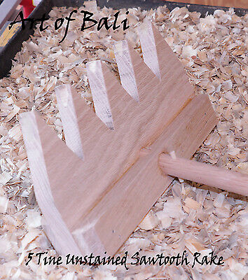 4' Sawtooth Style Unstained 5 Tine Oak Zen Garden Rake Art of Bali Original Rake