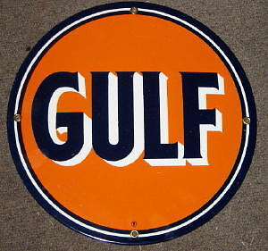 Gulf Porcelain Overlay Metal Sign      Nr