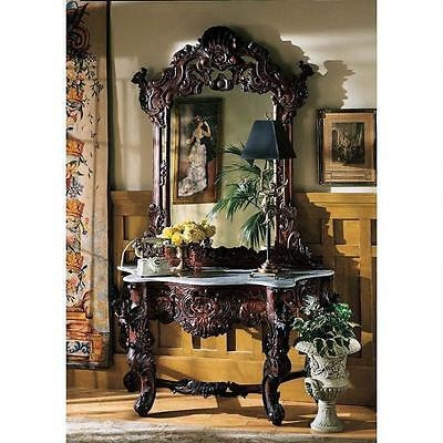 Elegant Hand Carved Solid Mahogany Mirror & White Marble Top Console Table