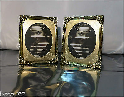 "2 x Vintage Ornate Standing Miniature Photo Frames, Gold Toned, 5""x4"""