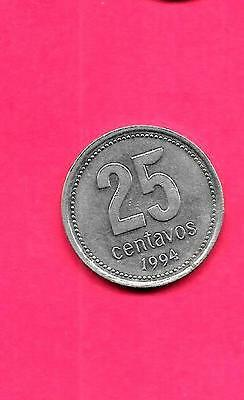 ARGENTINA KM110a 1994 XF-SUPER FINE-NICE LARGE 25 CENTAVOS COIN