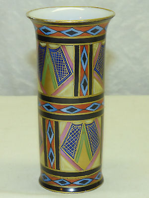 Antique Art Deco German Austrian Porcelain Vase Painted Geometric Design w/ Gold