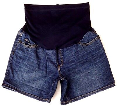 Liz Lange Maternity Women's High Panel Denim Jean Shorts SIZE: M(8-10) EUC!