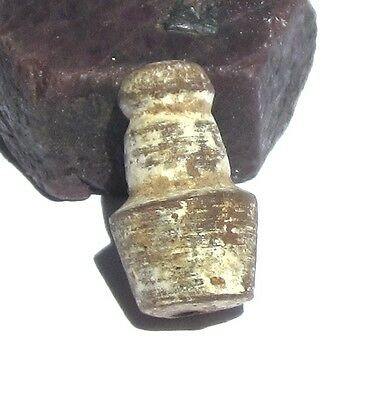 RARE AMAZING LARGE ANCIENT PRE-COLUMBIAN CLAY BEAD 12mm x 21mm