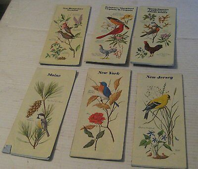 VINTAGE group of 6 Chevron gas maps 1966 State Bird  covers NJ.Maine,NY