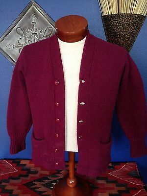 VINTAGE 40'S? INDIAN BRAND 100% Wool Cardigan Sweater sz M? Letterman WPL 12391