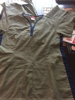 Dickies Soft Touch Relaxed Fit Scrub Top & Cargo Pants- Woman's Olive Green XST