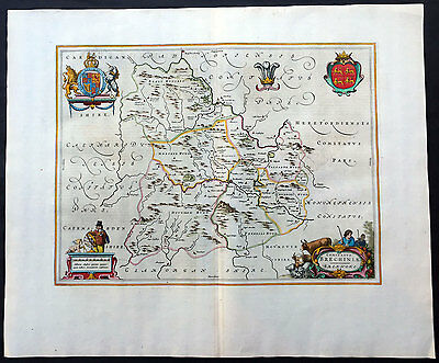 1664 Blaeu Large Old, Antique Map of The County of Brecknock, South Wales, UK