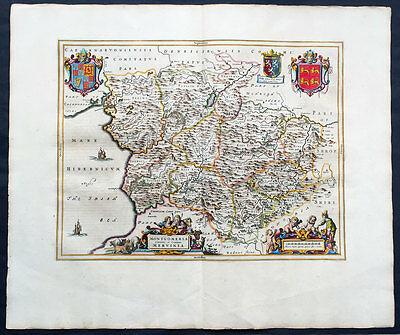1664 Blaeu Large Old, Antqiue Map The County of Montgomery, Wales UK