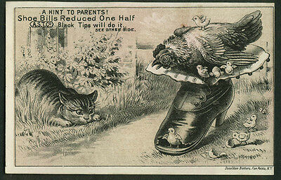 American Shoe Tip W W Cafferty Binghamton NY trade card 1880s cat v hen & chicks