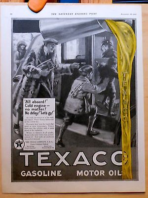 Vintage 1923 magazine ad for Texaco Motor Oil - Cold Engine NO Matter NO Delay!