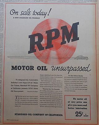 1936 large newspaper ad for RPM Oil Unsurpassed - What the new car demands
