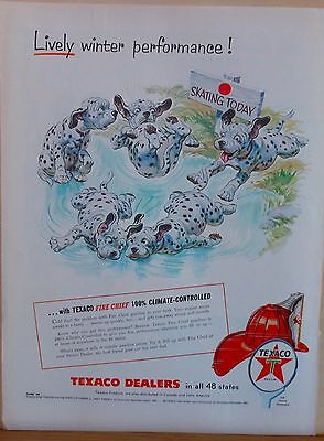 1955 magazine ad for Texaco - cute Dalmatian puppies skating on frozen pond