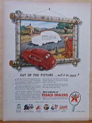 Vintage 1945 magazine ad for Texaco - car falls out of picture frame, colorful