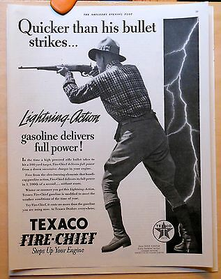 Vintage 1937 magazine ad for Texaco Fire Chief - Quicker than a bullet gasoline