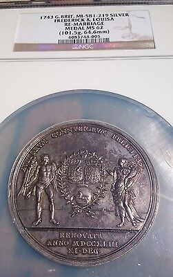 1743 G. Britain MI-581-219 SILVER FREDERICK & LOUISA RE-MARRIAGE MEDAL NGC MS 62