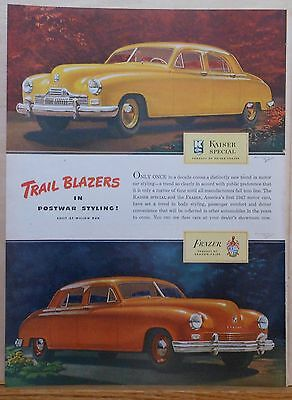 1946 magazine ad for Kaiser Frazer autos - Kaiser Special & Frazer, colorful